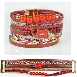 Bracelet Strass Effet manchette multirang fermoir aimanté New Collection 79019