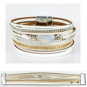 Strass bracelet Multirow cuff effect magnetic clasp New Collection 79021