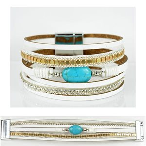 Bracelet Strass Effet manchette multirang fermoir aimanté New Collection 79022
