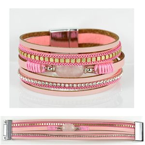 Bracelet Strass Effet manchette multirang fermoir aimanté New Collection 79023