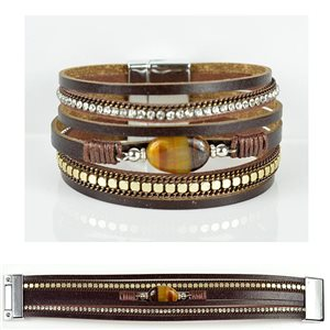 Bracelet Strass Effet manchette multirang fermoir aimanté New Collection 79024