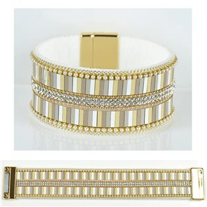 Bracelet Strass Effet manchette multirang fermoir aimanté New Collection 79026