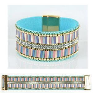 Bracelet Strass Effet manchette multirang fermoir aimanté New Collection 79027