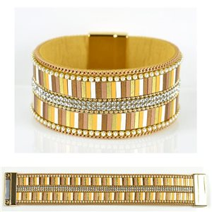 Bracelet Strass Effet manchette multirang fermoir aimanté New Collection 79028