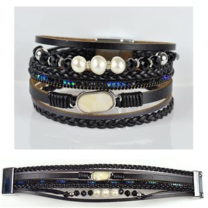Bracelet Strass Effet manchette multirang fermoir aimanté New Collection 79029