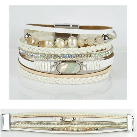 Strass bracelet Multirow cuff effect magnetic clasp New Collection 79030