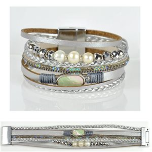 Bracelet Strass Effet manchette multirang fermoir aimanté New Collection 79031