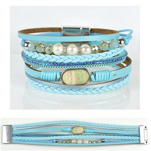 Bracelet Strass Effet manchette multirang fermoir aimanté New Collection 79032