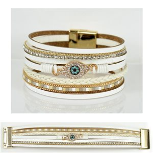 Strass bracelet Multirow cuff effect magnetic clasp New Collection 79034