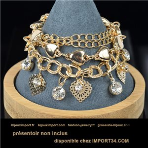 Pretty multirang Charms bracelet set with high-shine Rhinestones in Gold metal 79064
