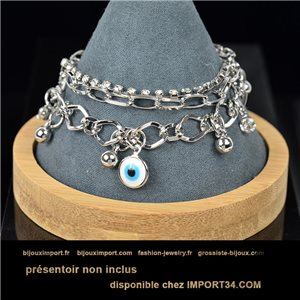 Pretty multirang Charms bracelet set with high-gloss rhinestones in silver metal 79069