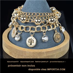 Pretty multirang charms bracelet set with high-shine rhinestones in gold metal 79072