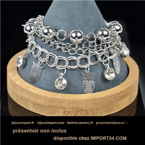 Pretty multirang charms bracelet set with high-gloss rhinestones in silver metal 79075