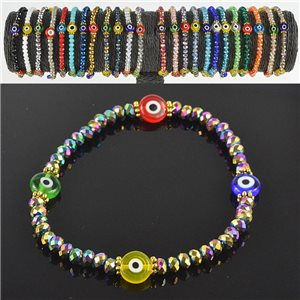 Lucky charm bracelet faceted crystal beads on elastic thread Handmade 79045