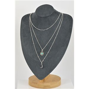 Silver Plated Triple Row Long Necklace New Collection 79134