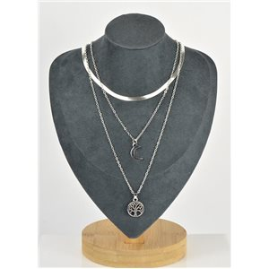 Silver Plated Triple Row Long Necklace New Collection 79122