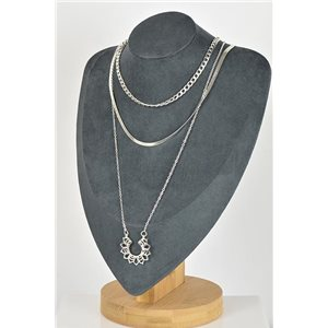 Silver Plated Triple Row Long Necklace New Collection 79124