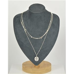 Silver Plated Triple Row Long Necklace New Collection 79126