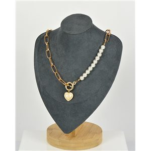 Single Row Long Necklace in Gold Metal New Collection 79152