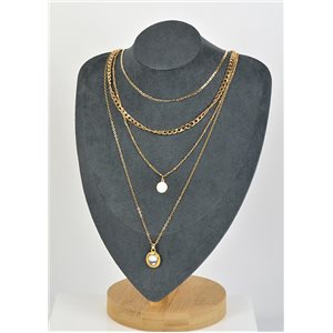 Four Rows Long Necklace Gold metal New Collection 79155