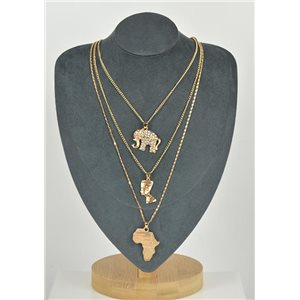 Necklace Long Necklace Triple Rows Gold metal New Collection 79128
