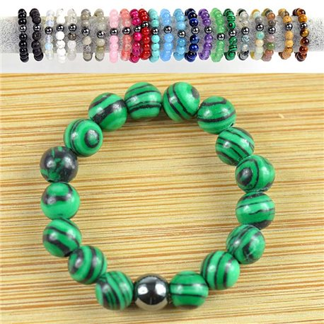 4mm Pearl Rings in Malachite Stone on elastic thread New Collection 79173