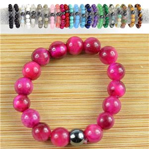 4mm Pearl Rings in Pink Tiger Eye Stone on elastic thread New Collection 79165
