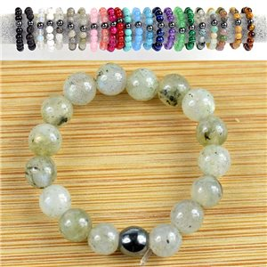 Spectrolite Stone Bead Rings 4mm on elastic wire New Collection 79162