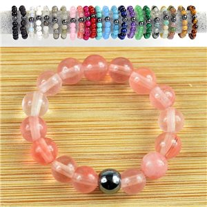 4mm Pearl Rings in Watermelon Tourmaline Stone on elastic thread New Collection 79164