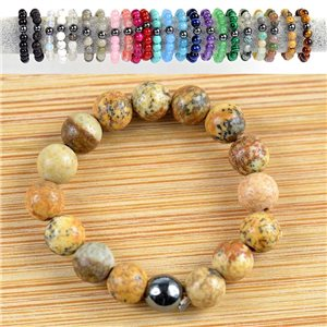 4mm Pearl Rings in Landscape Jasper Stone on elastic thread New Collection 79177