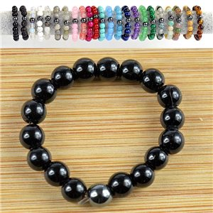 4mm Pearl Rings in Obsidian Stone on elastic thread New Collection 79156