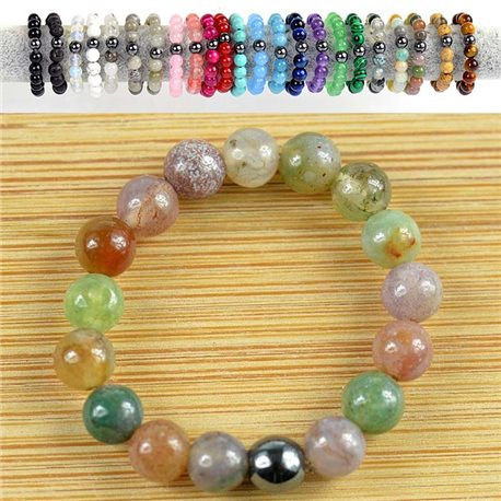 Indian Agate Stone 4mm Pearl Rings on elastic thread New Collection 79176