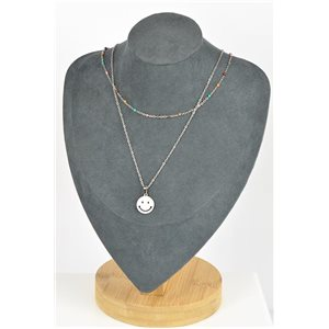Stainless Steel Double Row Long Necklace L40-45cm New Collection 79212