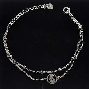 Double Row Stainless Steel Bracelet L17-21cm New Collection 79218