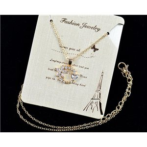 Fine chain necklace Gold 42-48cm - Gold pendant Strass diamond cut 79108