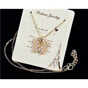 Fine chain necklace Gold 42-48cm - Gold pendant Strass diamond cut 79111