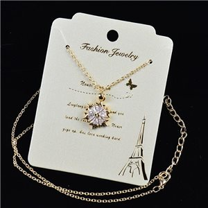 Gold chain necklace 42-48cm - Gold Zircon diamond cut pendant 79185