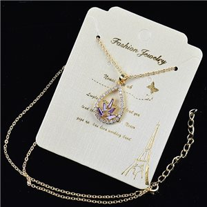 Gold chain necklace 42-48cm - Gold Zircon diamond cut pendant 79200