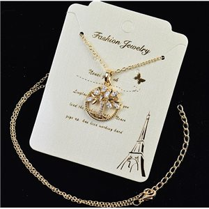 Gold chain necklace 42-48cm - Gold Zircon diamond cut pendant 79204