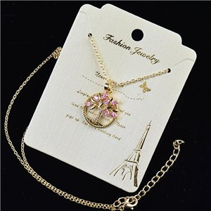 Gold chain necklace 42-48cm - Gold Zircon diamond cut pendant 79205