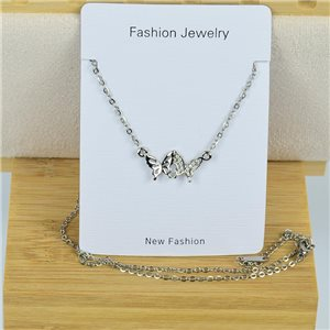 IRIS Rhinestone Pendant Necklace on Thin Steel Chain L40-45cm New Collection 79084