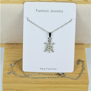 IRIS Rhinestone Pendant Necklace on Thin Steel Chain L40-45cm New Collection 79087