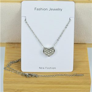 IRIS Rhinestone Pendant Necklace on Thin Steel Chain L40-45cm New Collection 79091