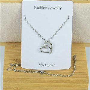 IRIS Rhinestone Pendant Necklace on Thin Steel Chain L40-45cm New Collection 79093