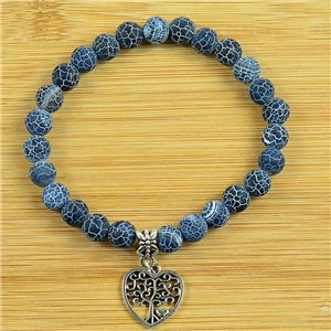 Lucky Tree of Life Bracelet 8mm Beads in Blue Agate Stone Dragon Vein on elastic thread 79245