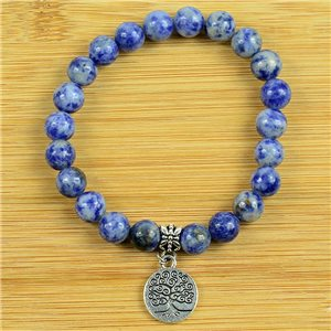 Lucky Tree of Life Beads Bracelet 8mm in Lilac Agate Stone on elastic thread 79261