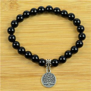 Lucky Tree of Life Bracelet 8mm Beads in Obsidian Stone on elastic thread 79250