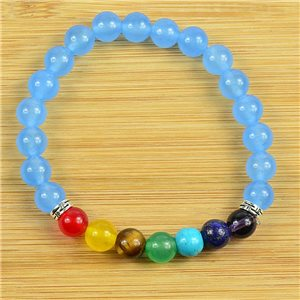 Lucky Bracelet Collection 7 Chakras Beads 8mm in Blue Aventurine Stone on elastic thread 79268