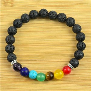 Lucky Charm Bracelet Collection 7 Chakras Beads 8mm in Lava Stone on elastic thread 79263