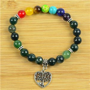 Lucky Bracelet Collection 7 Chakras Beads 8mm in Aquatic Agate Stone on elastic thread 79281